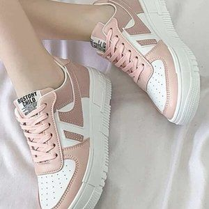 Color block White and Pink Lace-up Stake Shoes 41